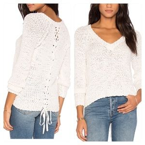 New! Michael Stars NUBBY BOUCLE PULLOVER IN CHALK